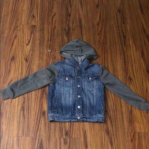 GAP Kids Denim Jacket w/Fleece Hood and Sleeves